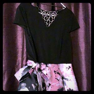 🌸Prom Wedding Party Dress Black/PinkFlowers 🌸